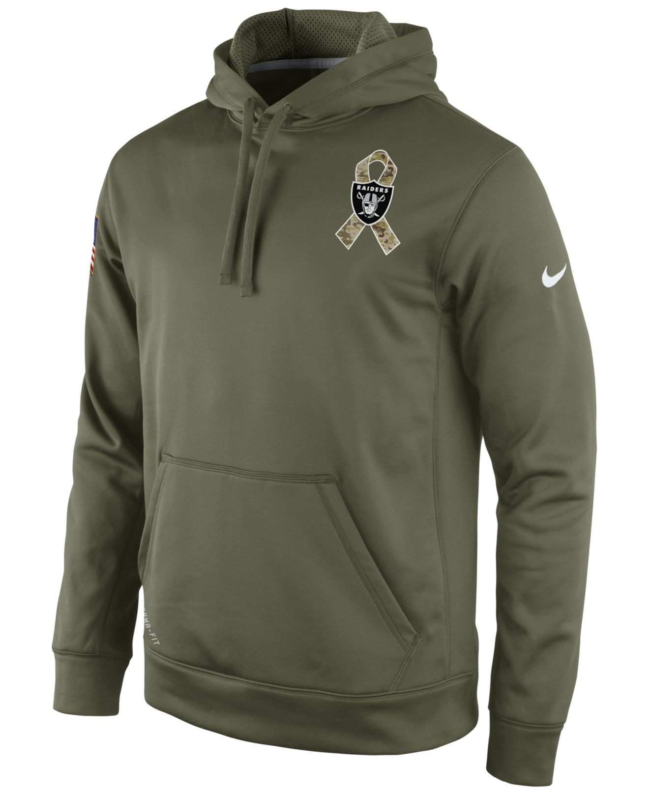 Top Nike Mens Oakland Raiders Salute To Service Ko Hoodie in Green for  for sale