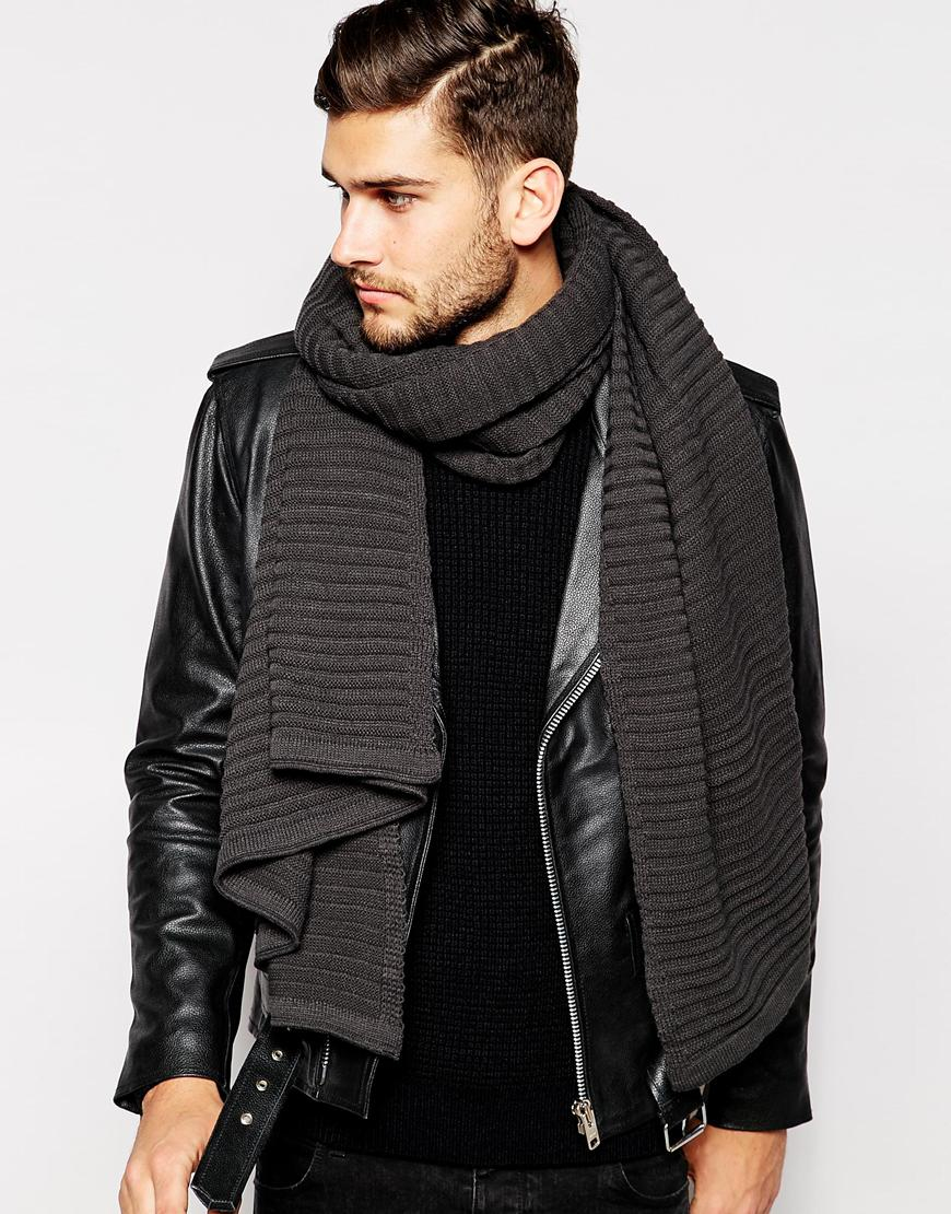 Scarfs Men Scarf And Casual On Pinterest Nice Scarves: Asos Oversized Blanket Scarf In Charcoal In Gray