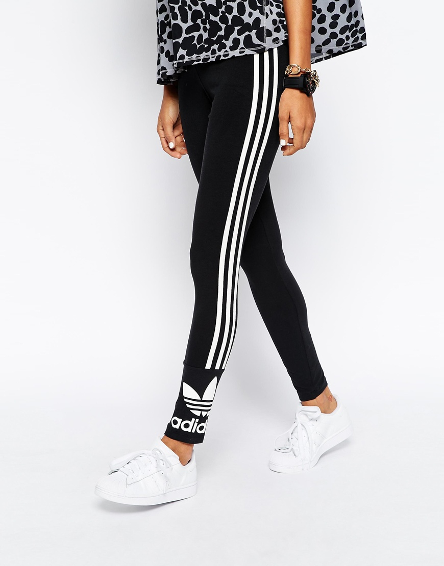 4fd5d373095 adidas Originals 3 Stripe Leggings in Black - Lyst