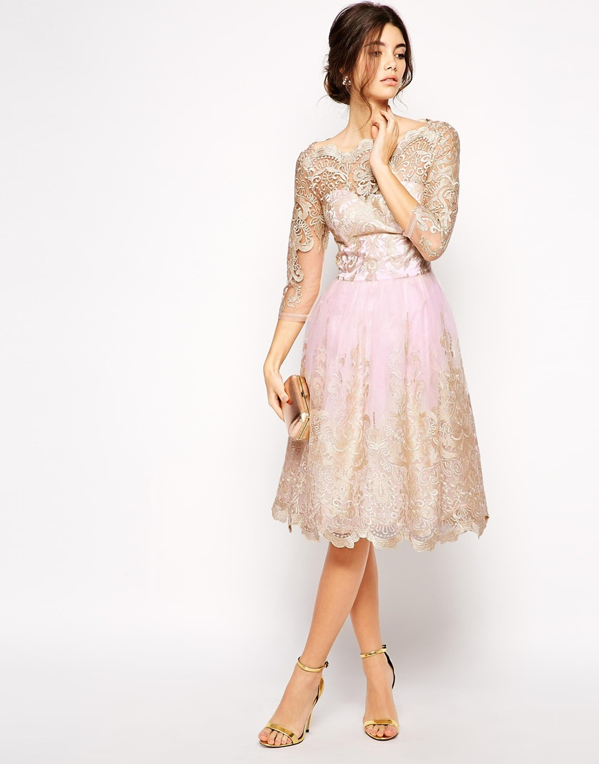 Lyst - Chi Chi London Premium Metallic Lace Prom Dress With Bardot ...