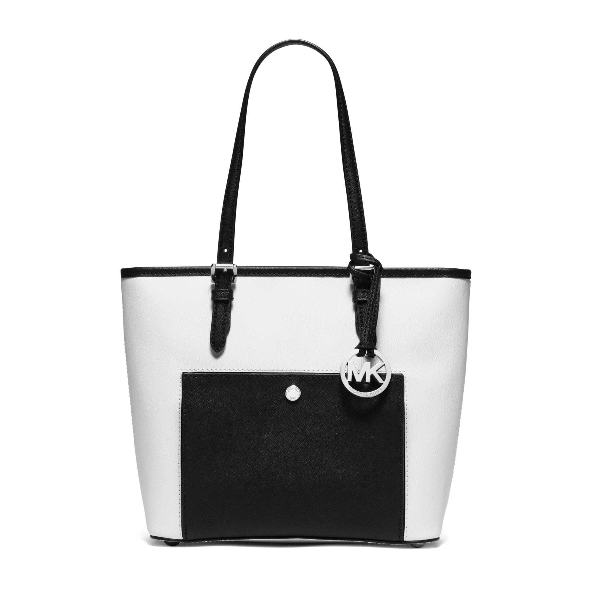 b7ae549544b6 Michael Kors Jet Set Travel Medium Saffiano Leather Tote in White - Lyst