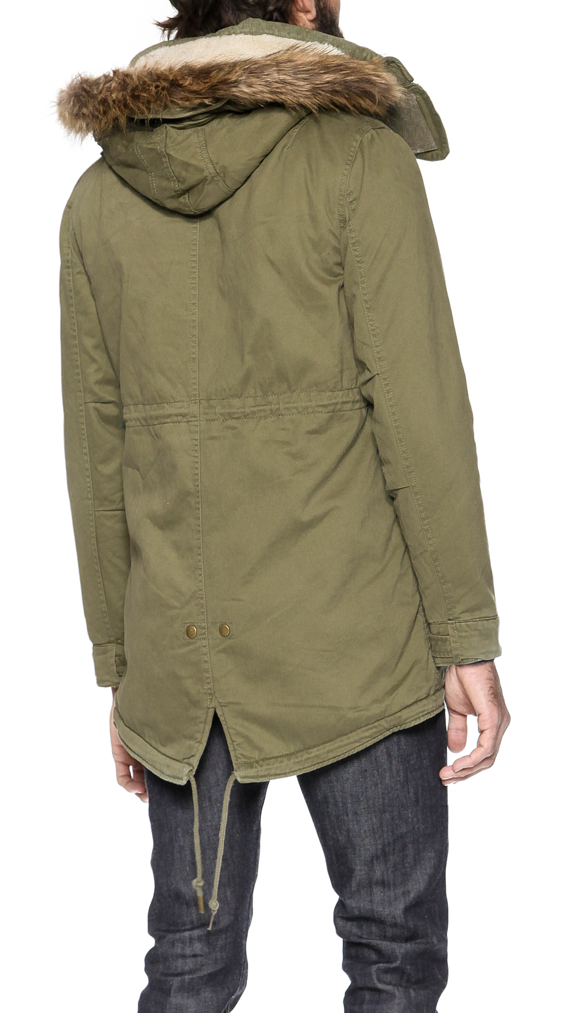 Native youth Sherpa Lined Parka in Natural for Men | Lyst