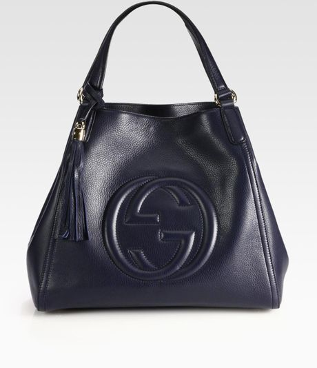 Gucci Soho Leather Shoulder Bag in Blue (navy)