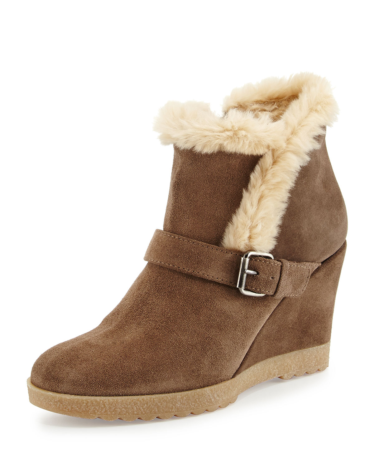 aquatalia carlotta faux fur lined suede wedge ankle boot