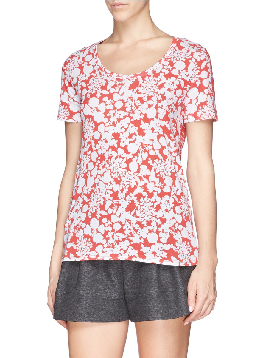 Lyst tory burch 39 ester 39 floral print pima cotton t shirt for Pima cotton tee shirts