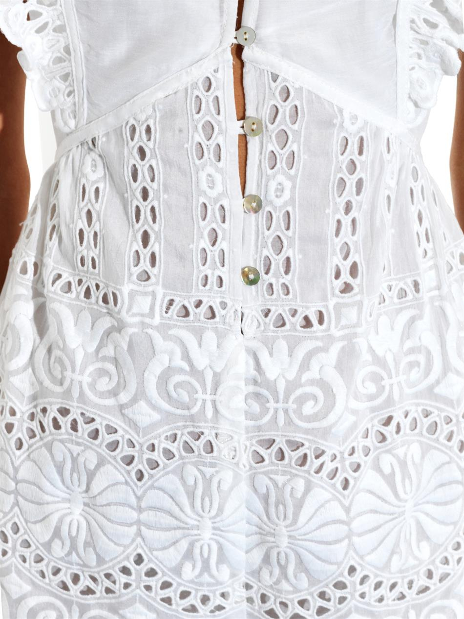 ee27d0957ec Lyst - Zimmermann Porcelain Embroidered Playsuit in White