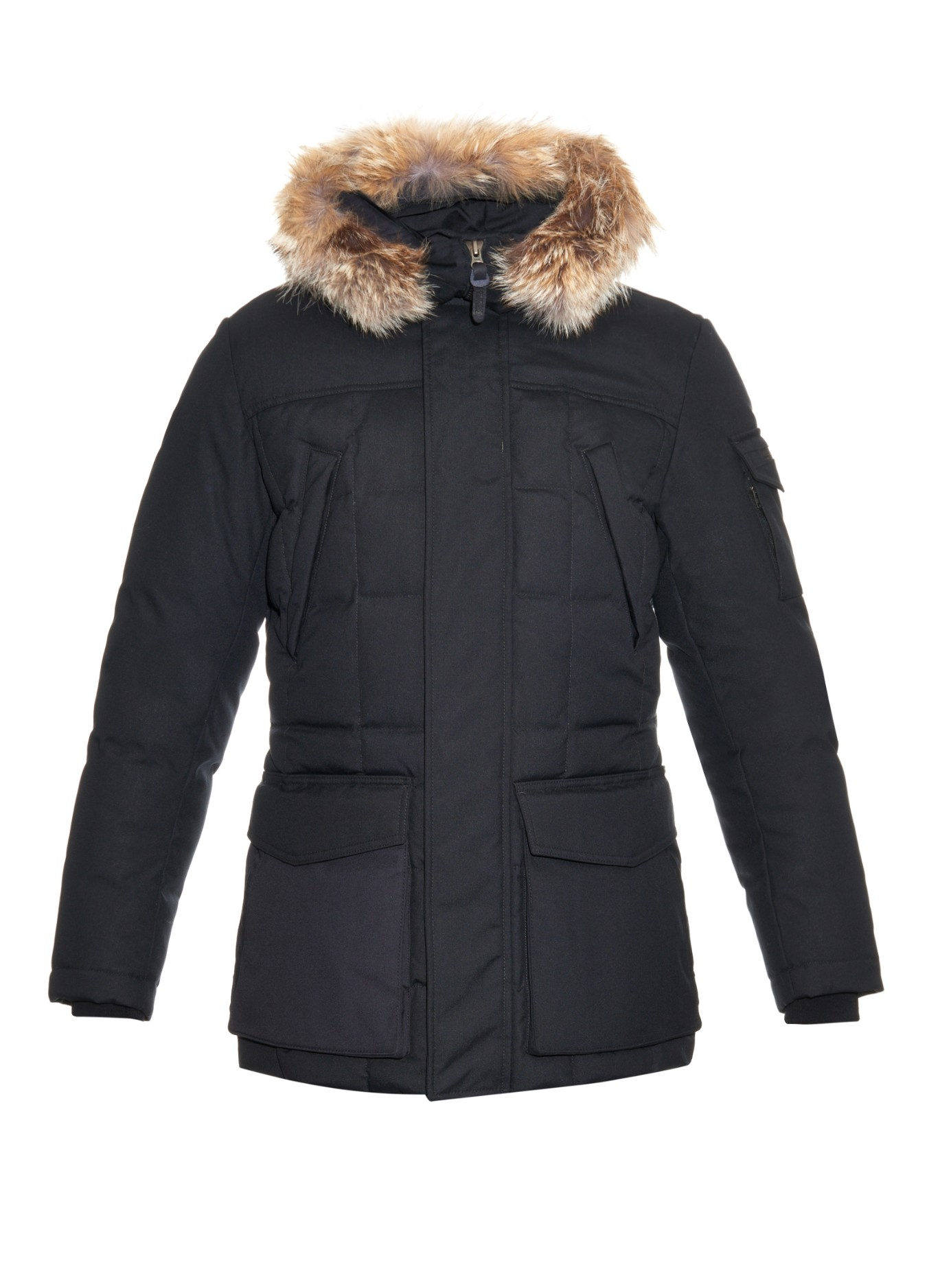 woolrich teton blizzard coyote fur trimmed parka in black for men. Black Bedroom Furniture Sets. Home Design Ideas