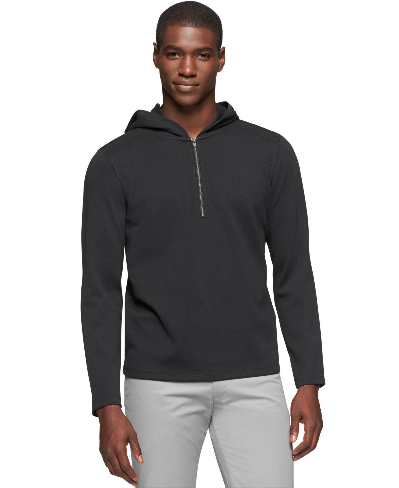 calvin klein quarter zip hoodie in black for men lyst. Black Bedroom Furniture Sets. Home Design Ideas