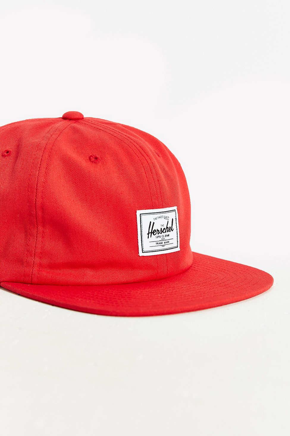 19719a71909 Lyst - Herschel Supply Co. Albert Strapback Hat in Red for Men