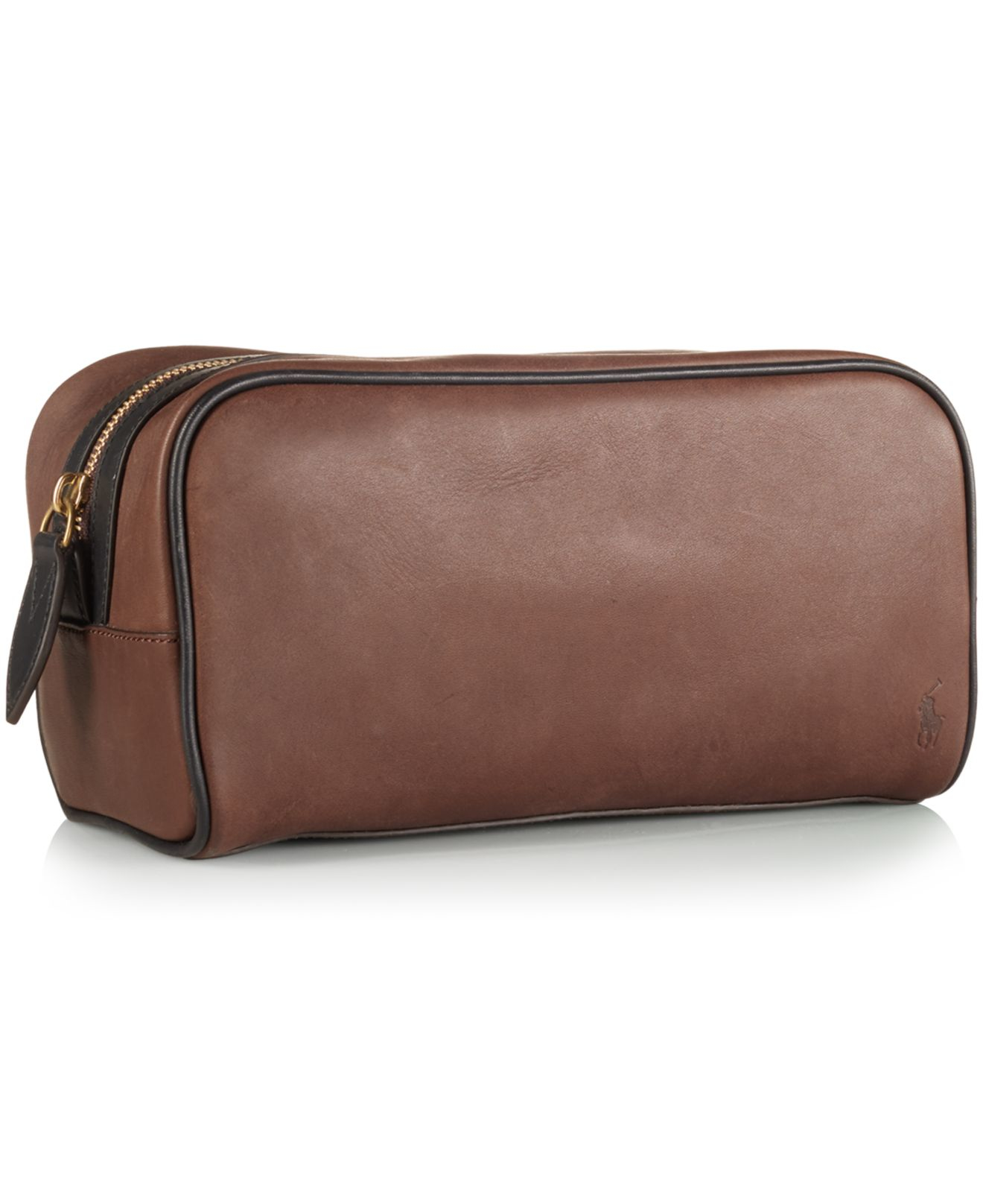 3fb21f9612 Lyst - Polo Ralph Lauren Two-toned Leather Shaving Bag in Brown for Men