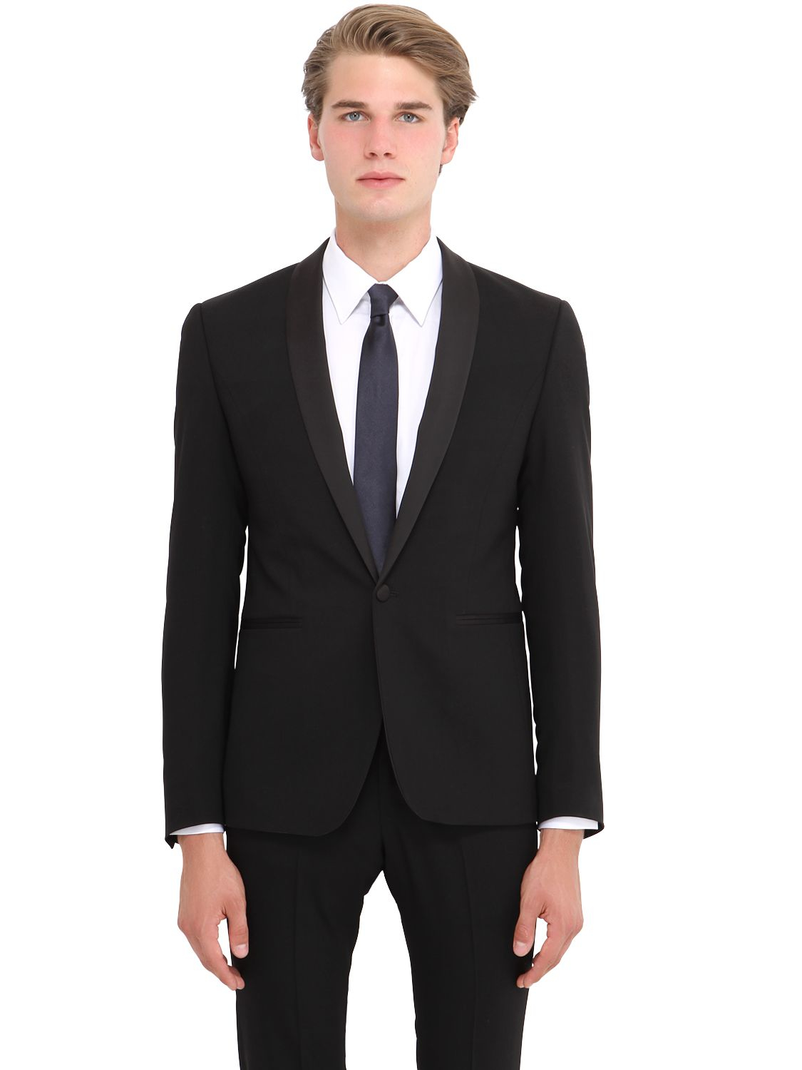 The suits Stretch Cool Wool Tuxedo Suit in Black for Men ...