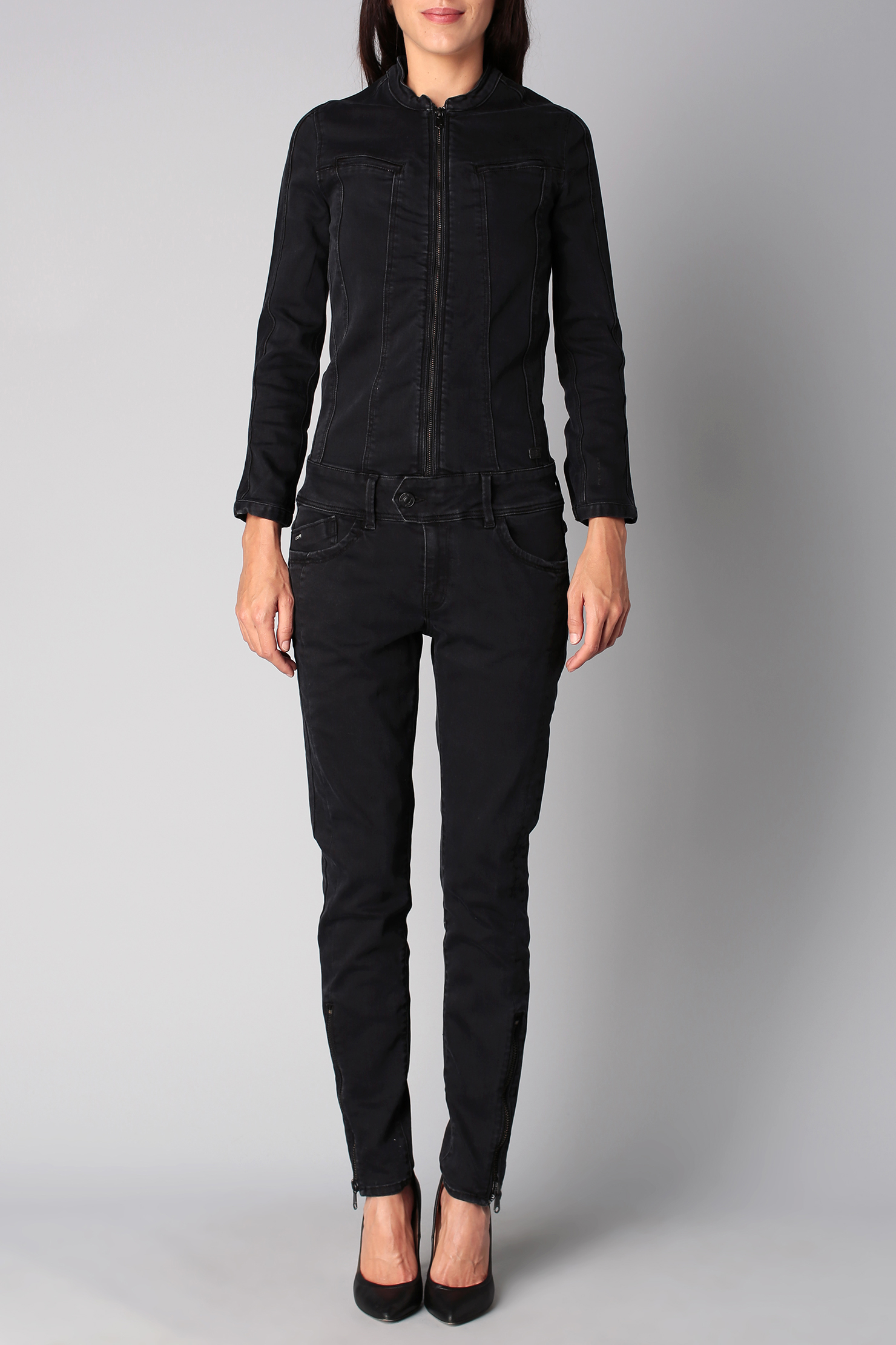 g star raw jumpsuit in black lyst. Black Bedroom Furniture Sets. Home Design Ideas