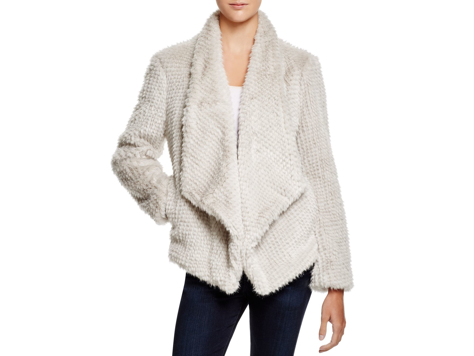 Bardot Faux Fur Waterfall Jacket in Gray | Lyst