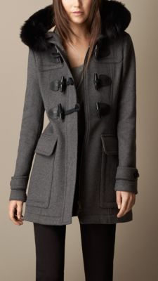 Burberry Detachable Fur Trim Fitted Duffle Coat in Gray   Lyst
