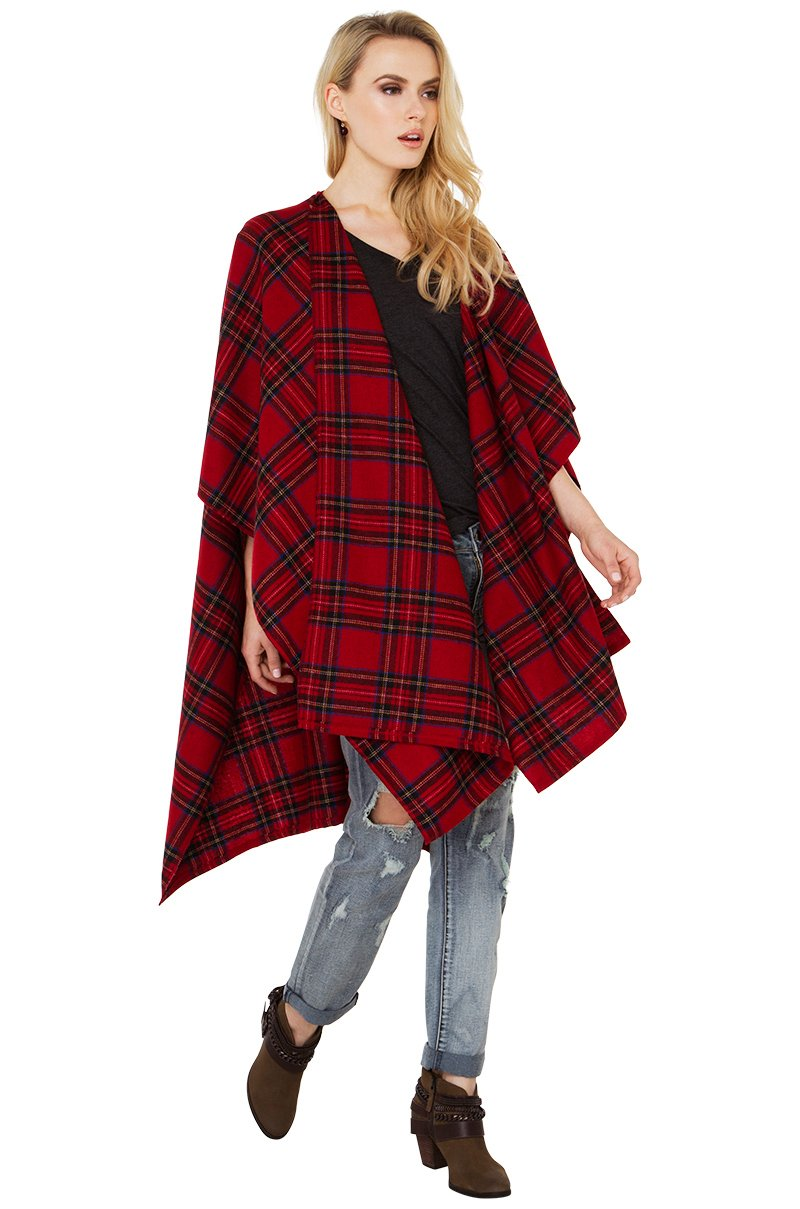Akira Red Plaid Wrap Cardigan in Red
