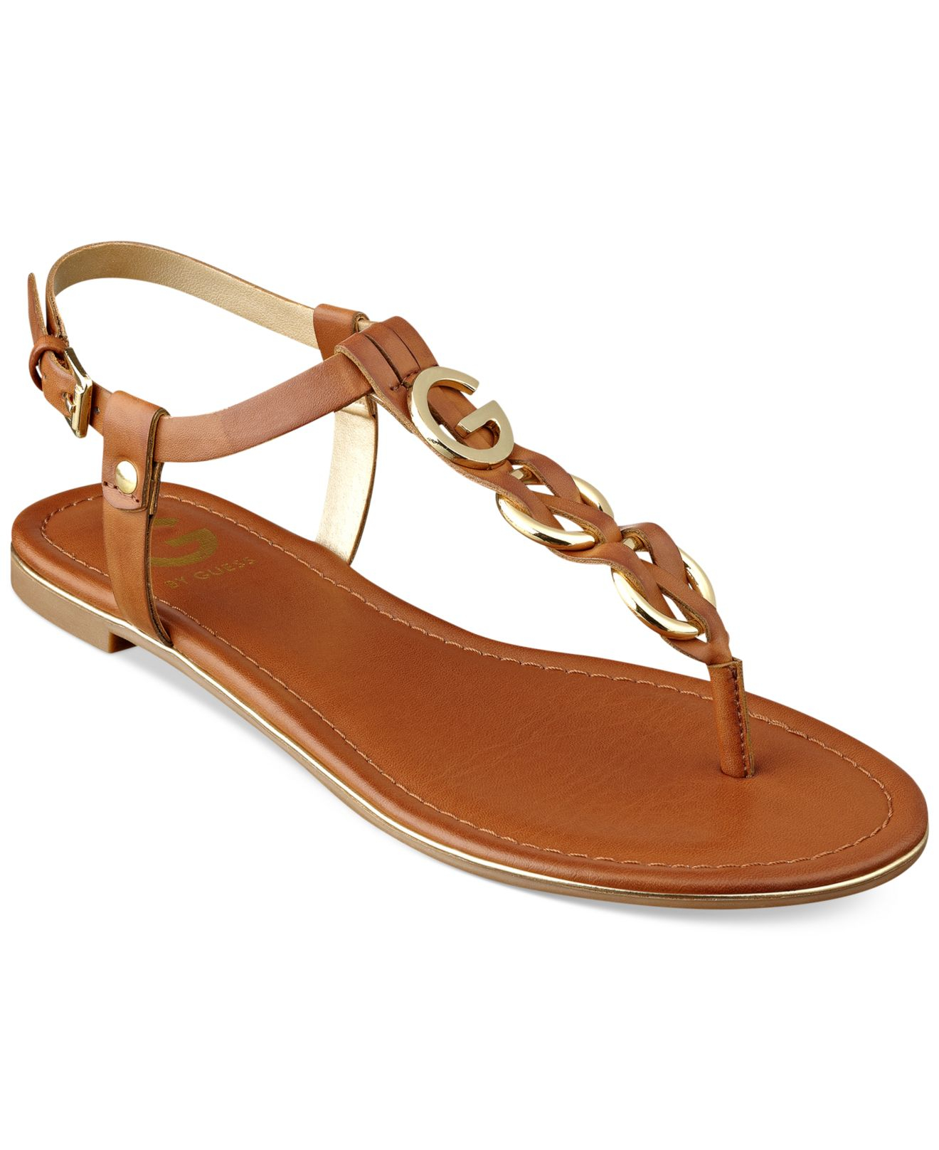 89b4e40c00023 Lyst - G by Guess Women S Dahlia Braided T-Strap Flat Sandals in Brown