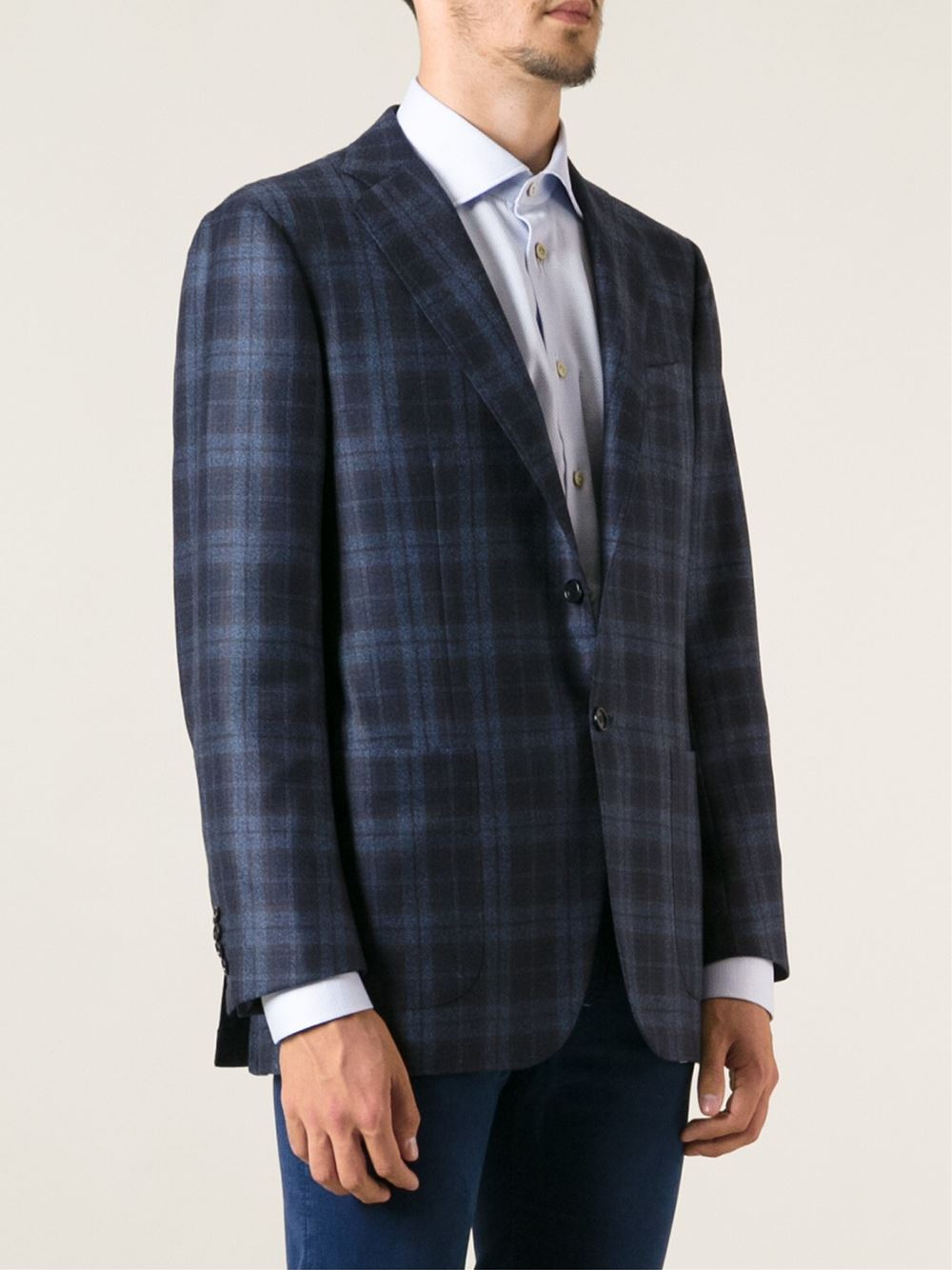 Kiton Checked Jacket in Blue for Men