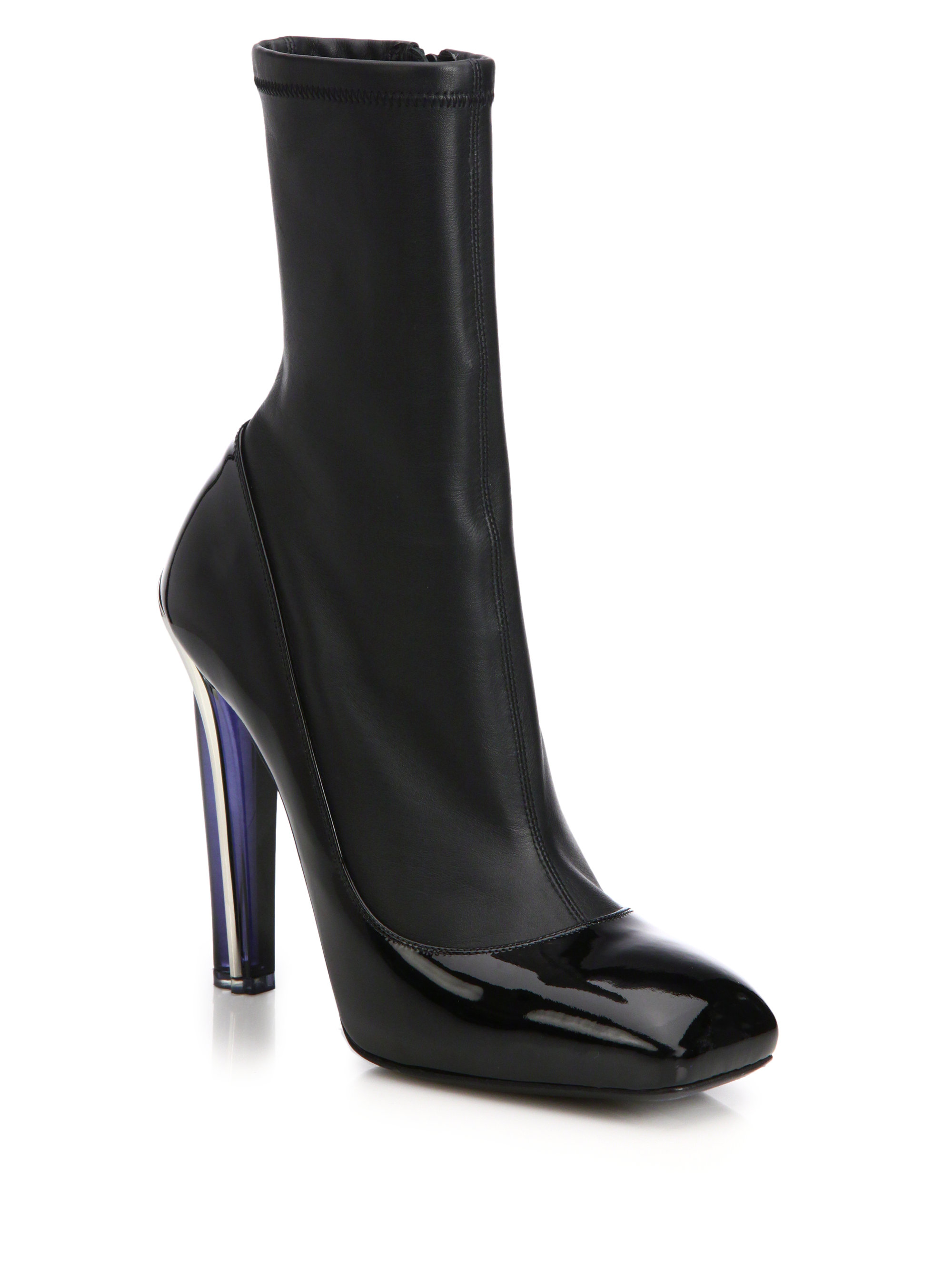 mcqueen stretch leather patent leather