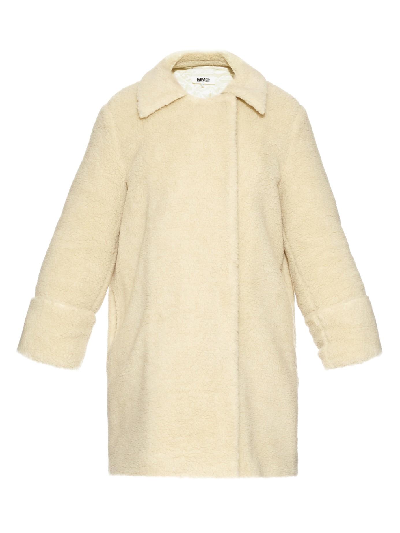Lyst - MM6 by Maison Martin Margiela Teddy Faux-shearling Coat in White 2fc378801b1fa