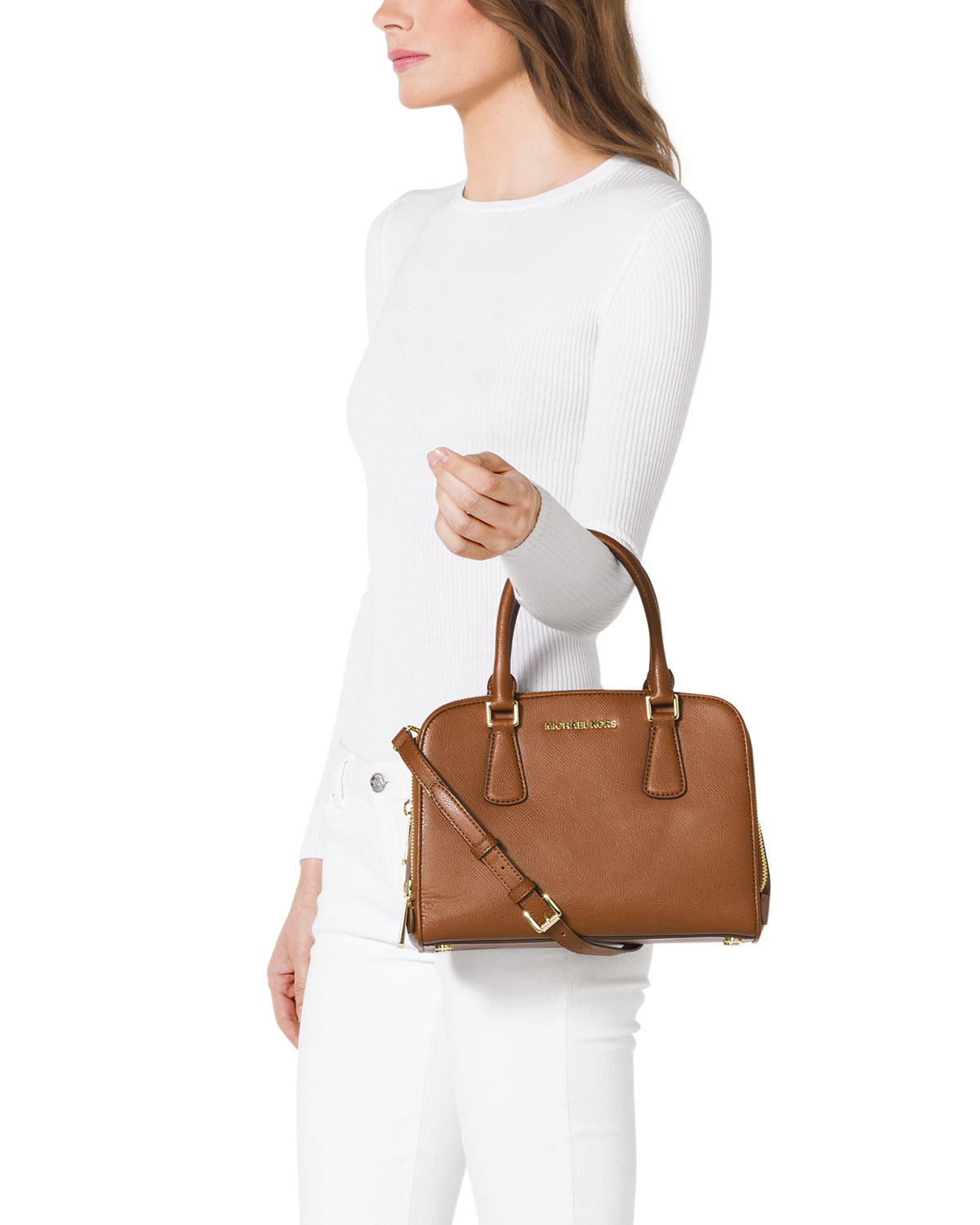 f6cb60c273909d MICHAEL Michael Kors Medium Reese Satchel in Brown - Lyst