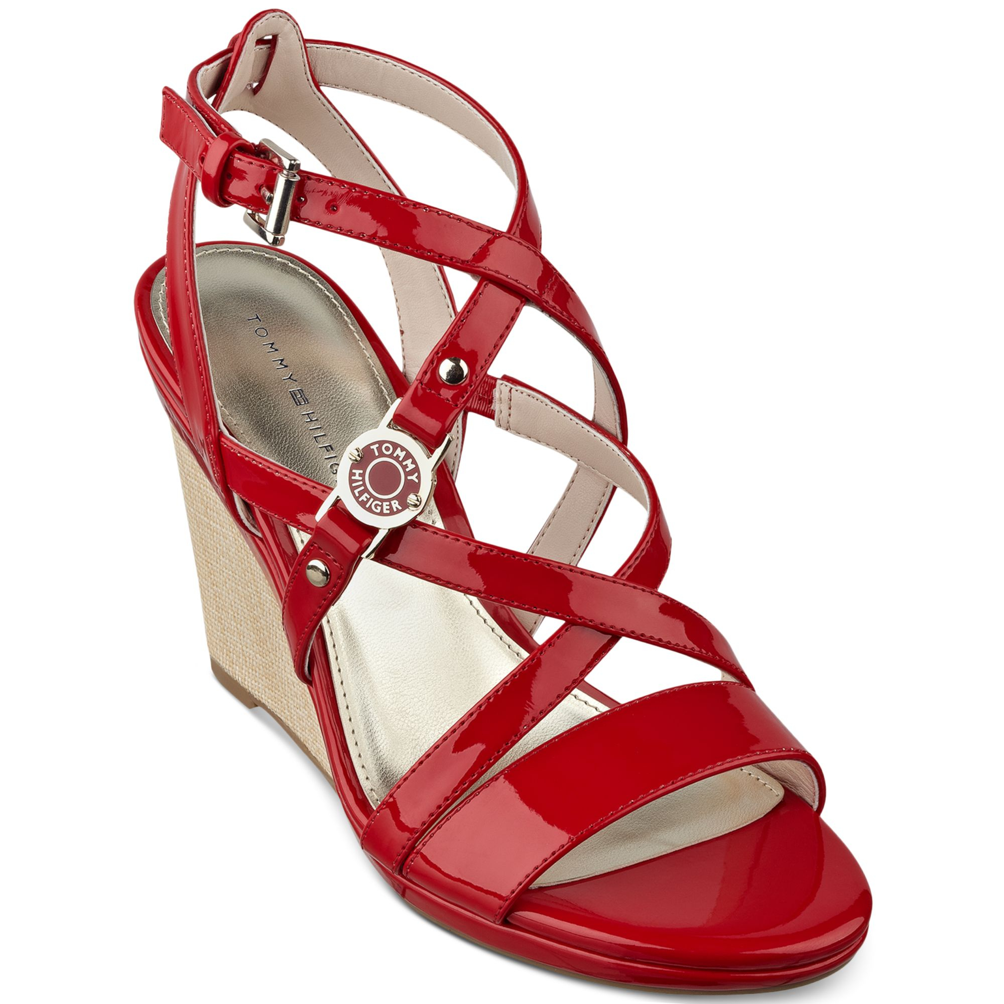 tommy hilfiger womens elizah wedge sandals in red lyst. Black Bedroom Furniture Sets. Home Design Ideas