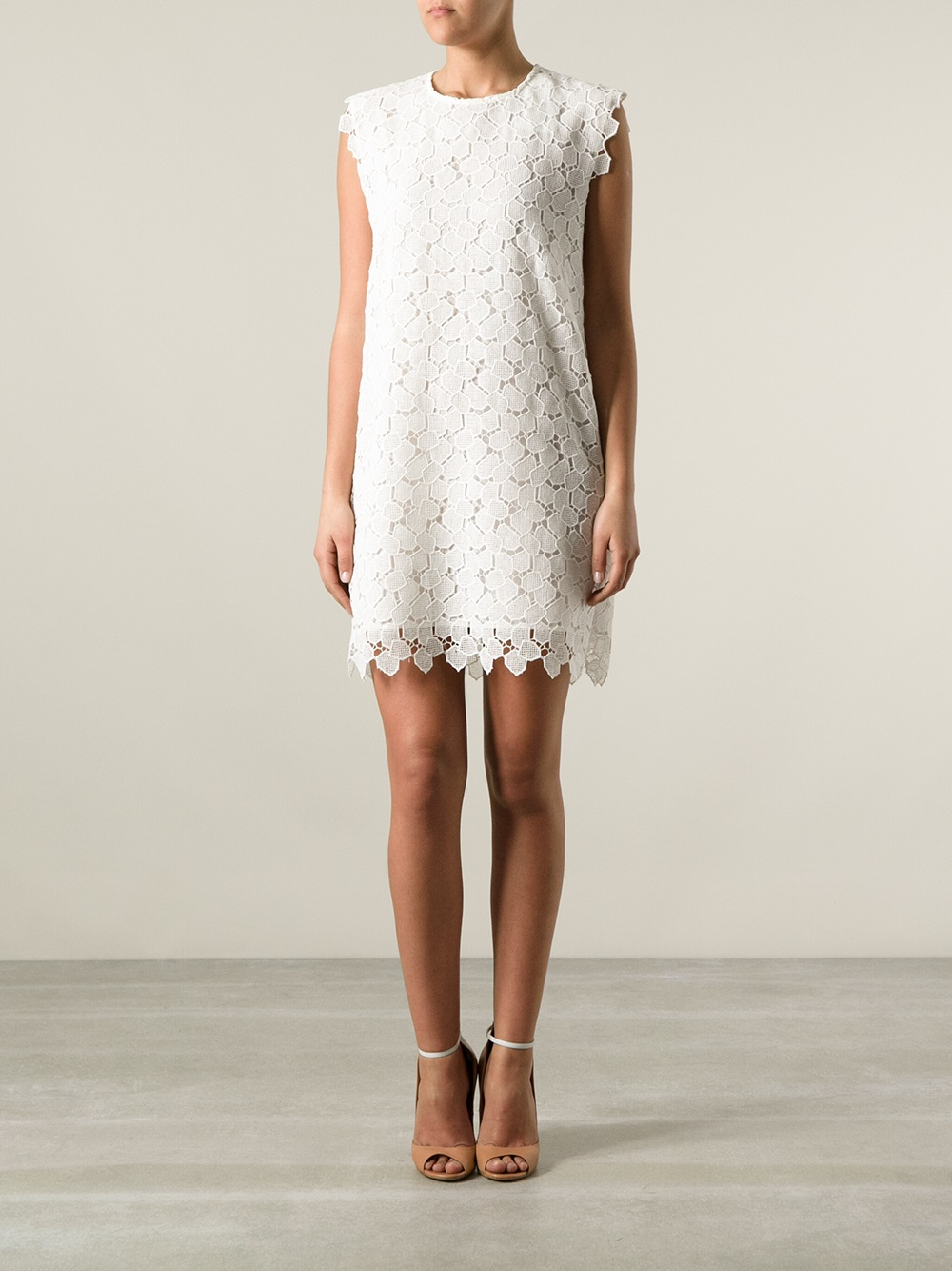 Lyst Cacharel Lace Shift Dress In White