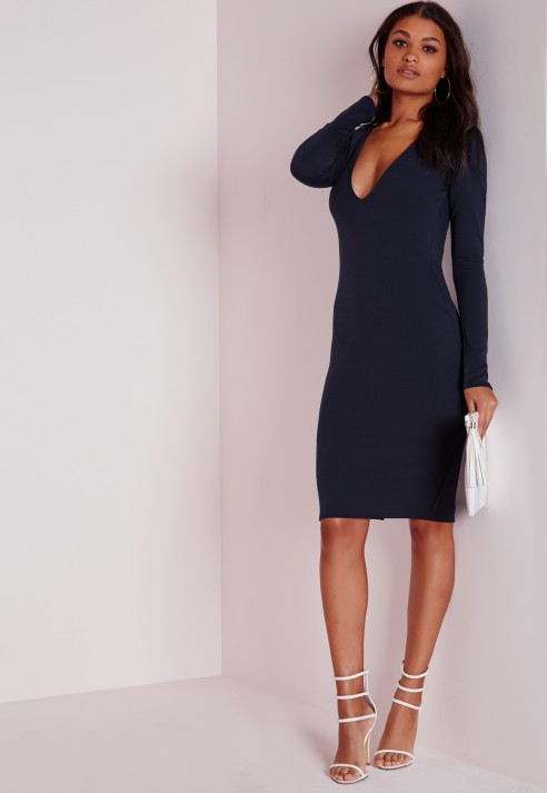 0944097a3812 Lyst - Missguided Ponte Long Sleeve Plunge Midi Dress Navy in Blue