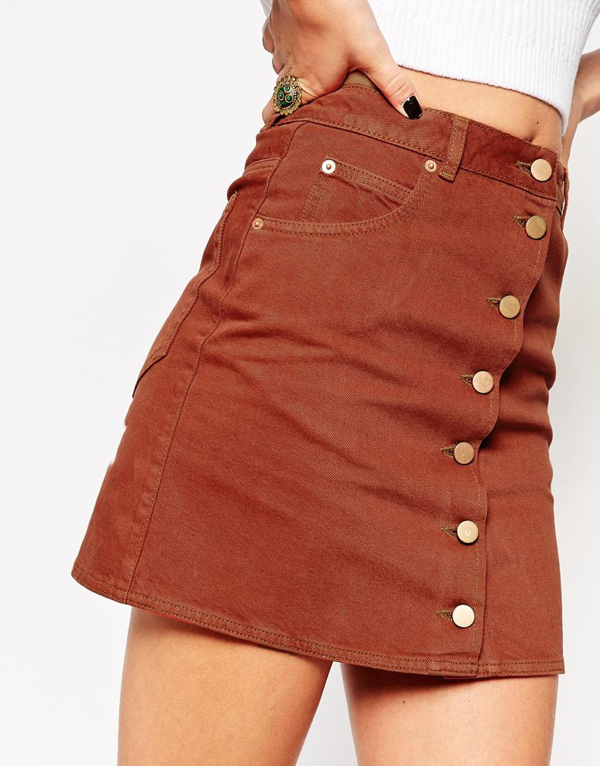 3dfdc2617 ASOS Denim Dolly Button Through Skirt In Rust in Brown - Lyst