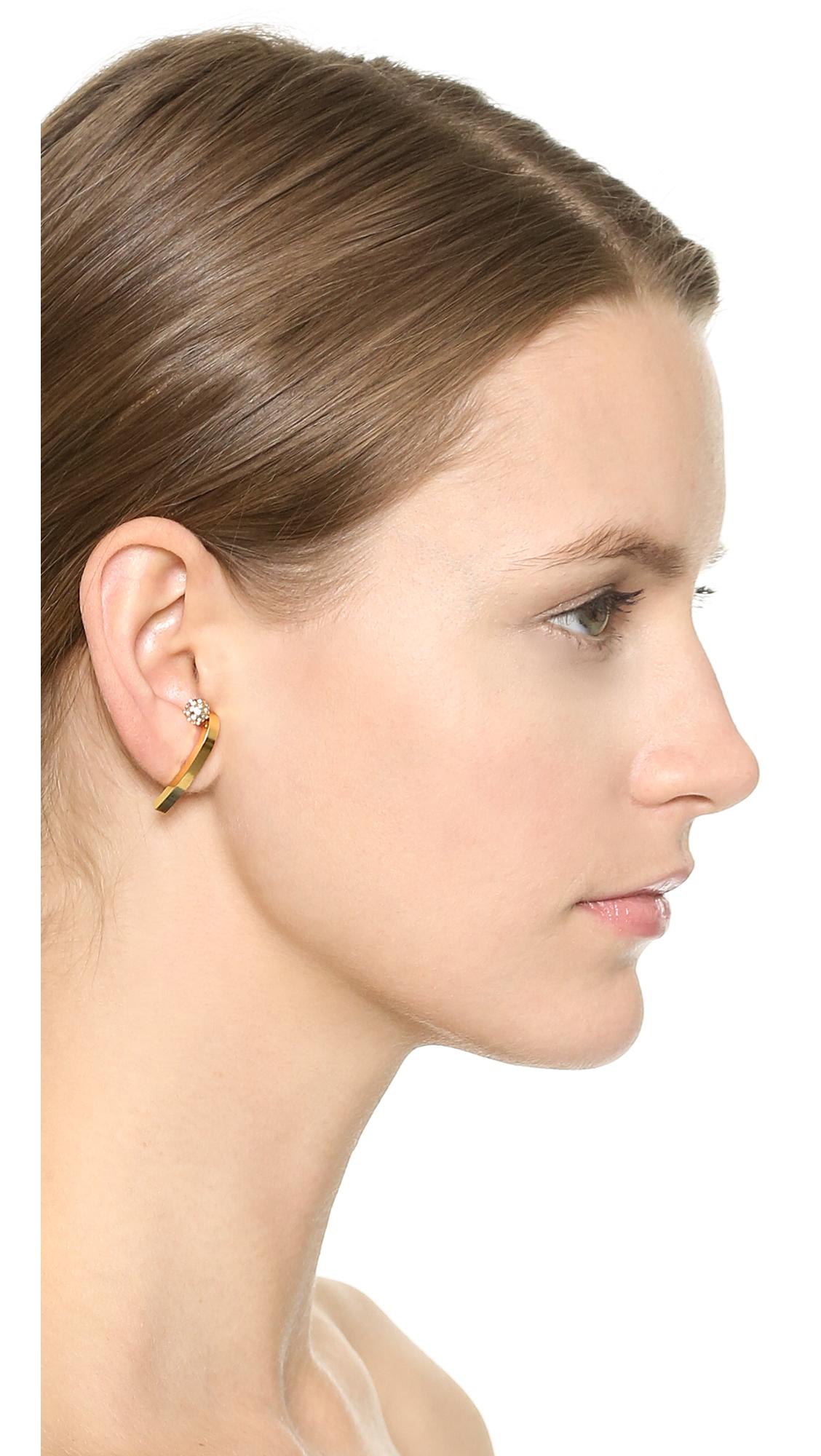 Vita Fede Luna Pearly Hoop Stud Earrings A9tDGt6