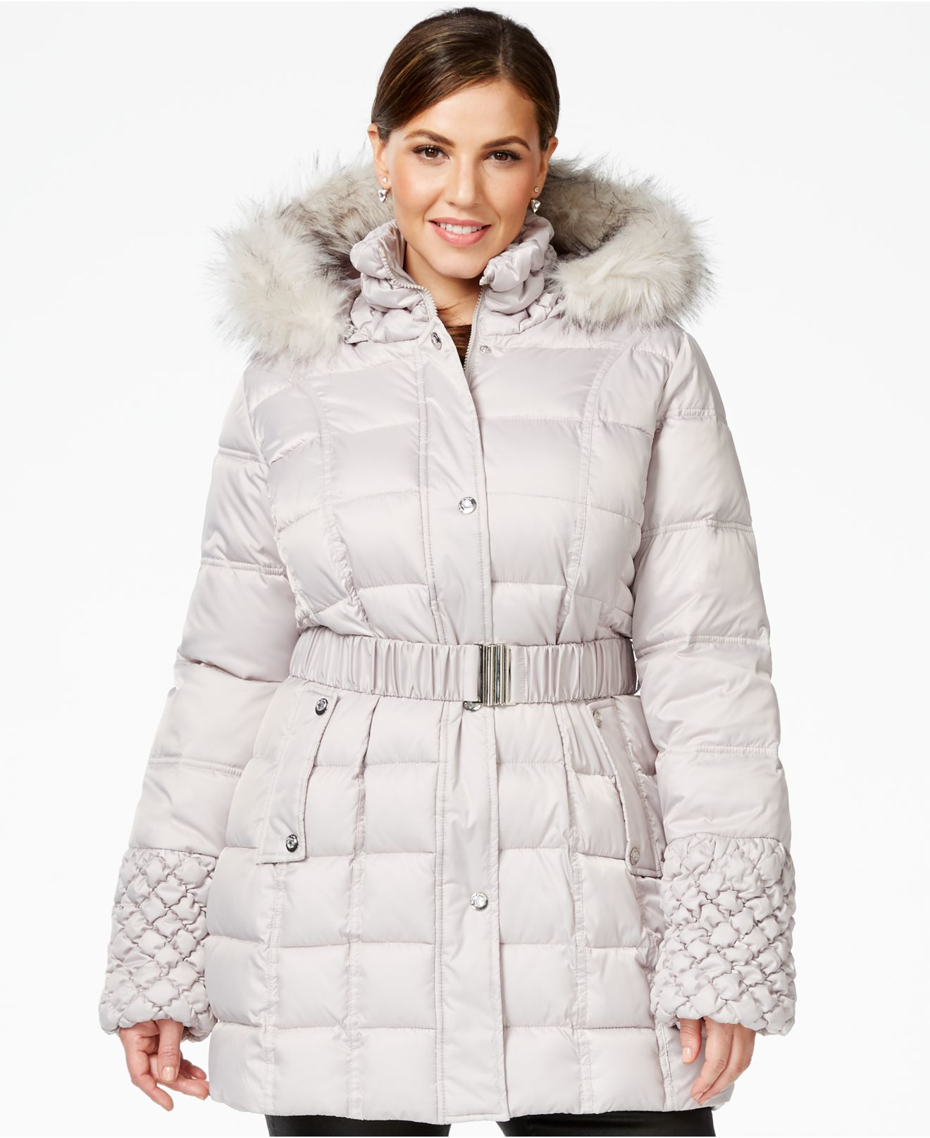 Betsey johnson Plus Faux-fur-trim Quilted Belted Puffer Coat in ... : quilted belted coat - Adamdwight.com