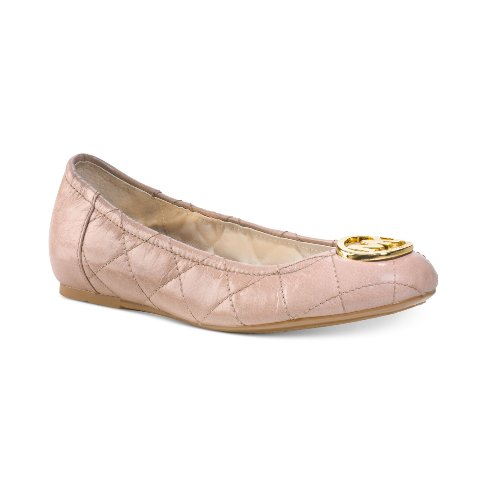 michael kors michael fulton quilted ballet flats in pink dark nude lyst. Black Bedroom Furniture Sets. Home Design Ideas