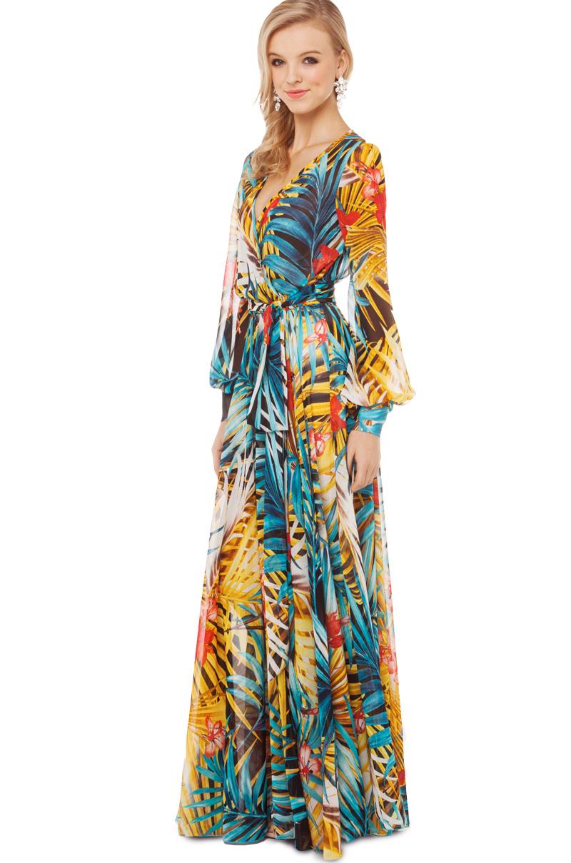 c371c29e9c Long Sleeve Tropical Print Maxi Dress - Data Dynamic AG