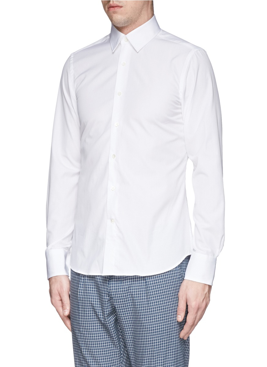 Lyst canali spread collar cotton poplin shirt in white for Wide spread collar shirt