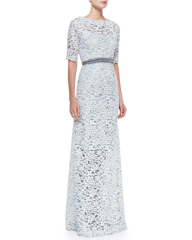 Lyst - Teri Jon Halfsleeve Lace Overlay Gown in Blue