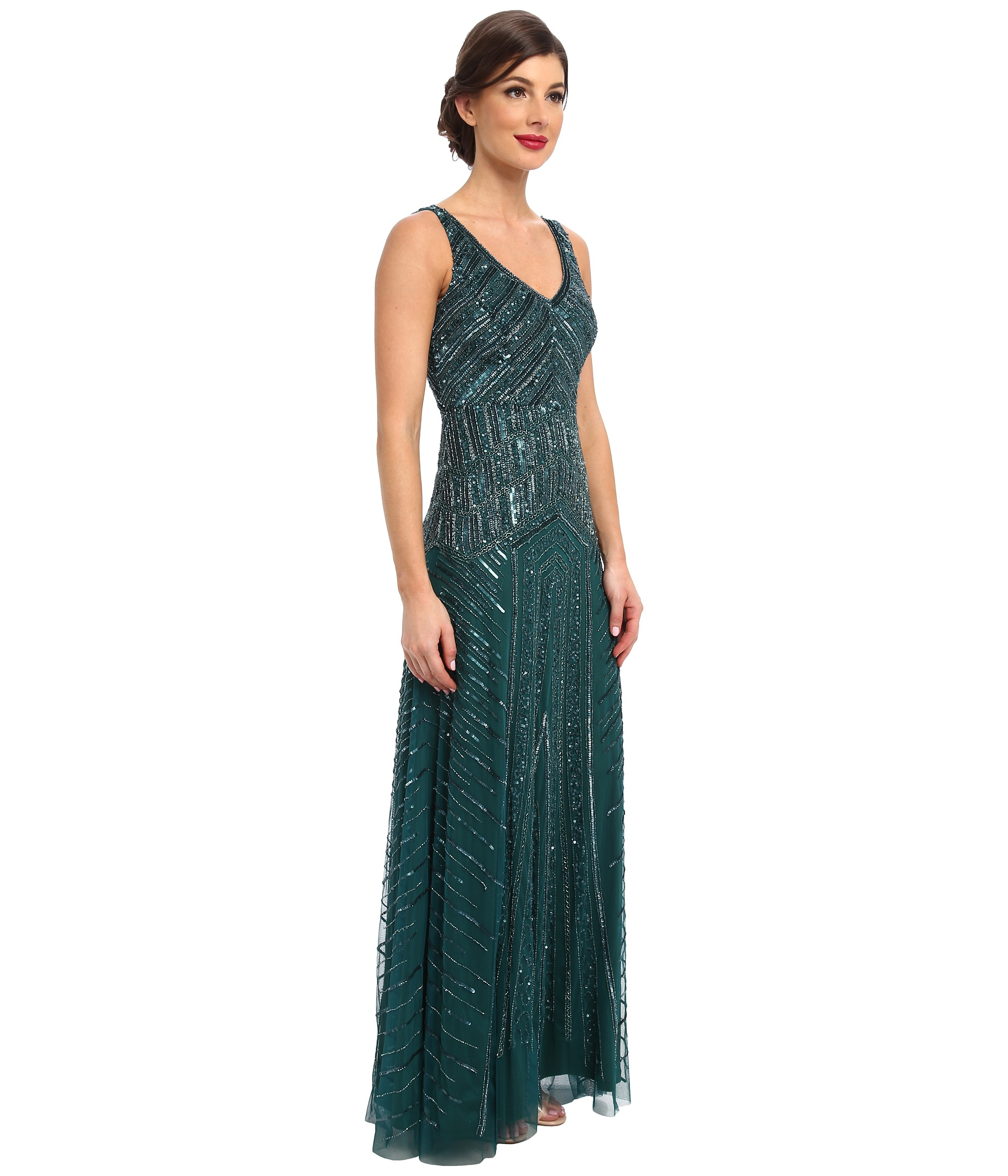0a69a55c840 Adrianna Papell Long Beaded Dress in Green - Lyst