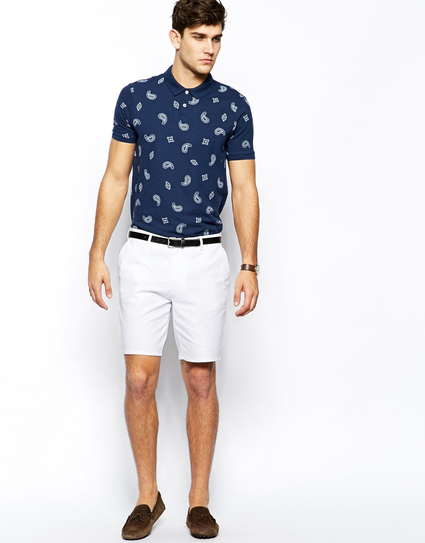 Asos Slim Fit Shorts In Washed Cotton in White for Men | Lyst