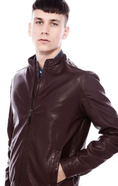 Pull&bear Fake Leather Jacket in Brown for Men (BURGUNDY) | Lyst
