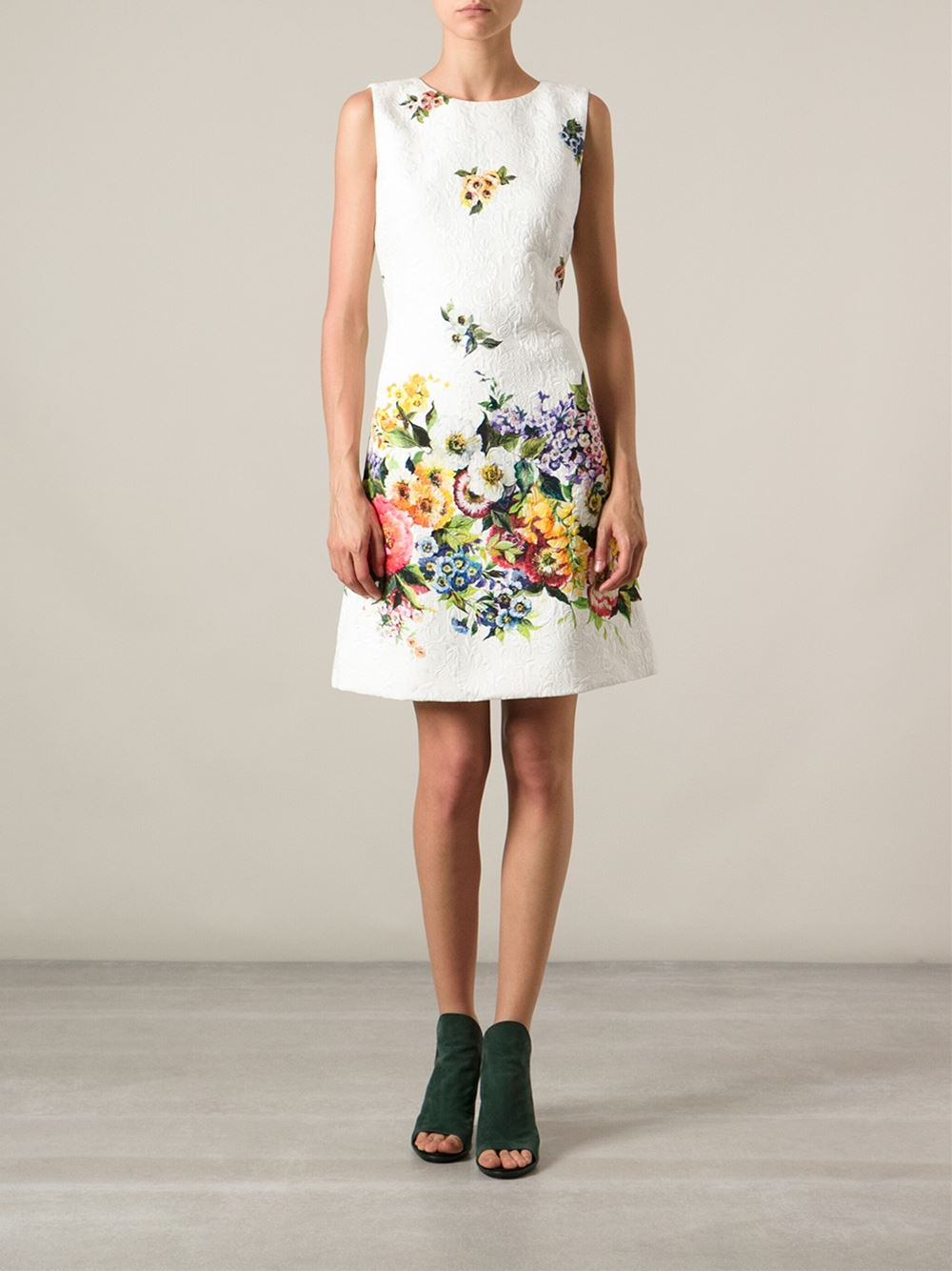 dcabccfc Dolce & Gabbana Floral Print Dress in White - Lyst