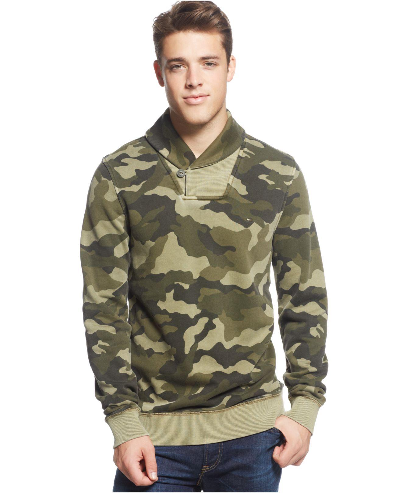 dd317c473b4 Tommy Hilfiger M-Camo Shawl Sweater in Green for Men - Lyst