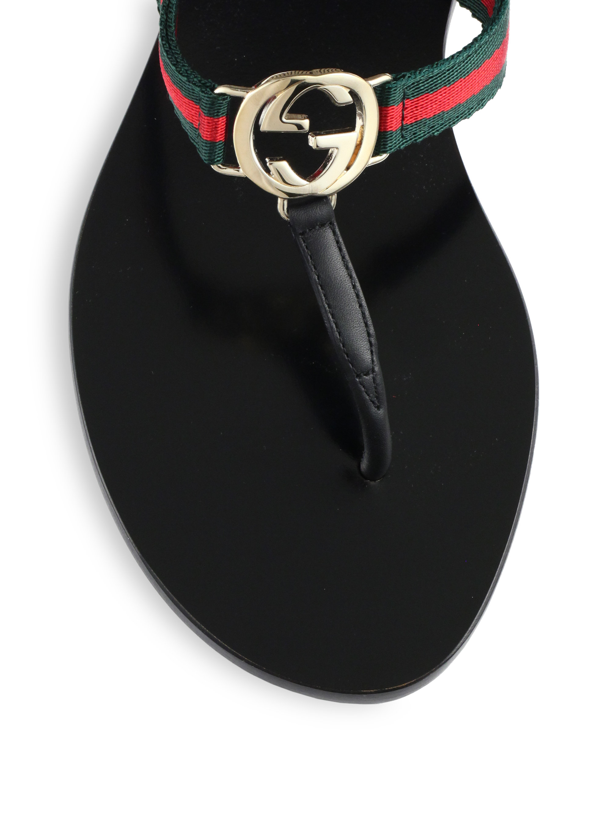 da87e68898d Lyst - Gucci New Gg Canvas   Leather Signature Thong Sandals