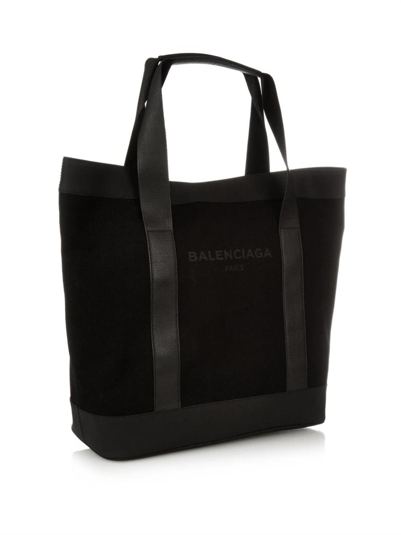Lyst Balenciaga Logo Cotton Canvas Tote In Black For Men