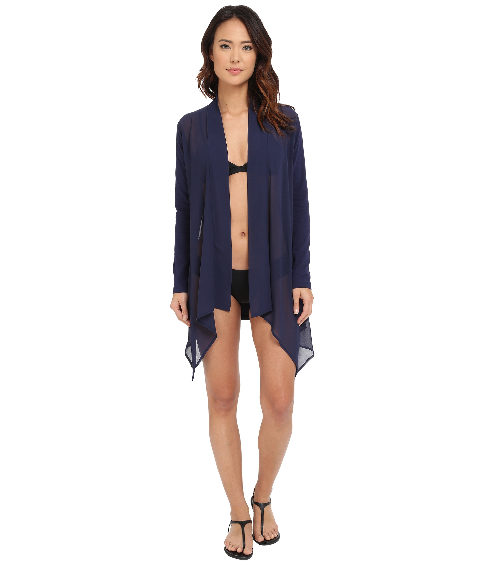 Tommy bahama Knit Chiffon Sheer Front Cardigan Cover-up in Blue   Lyst