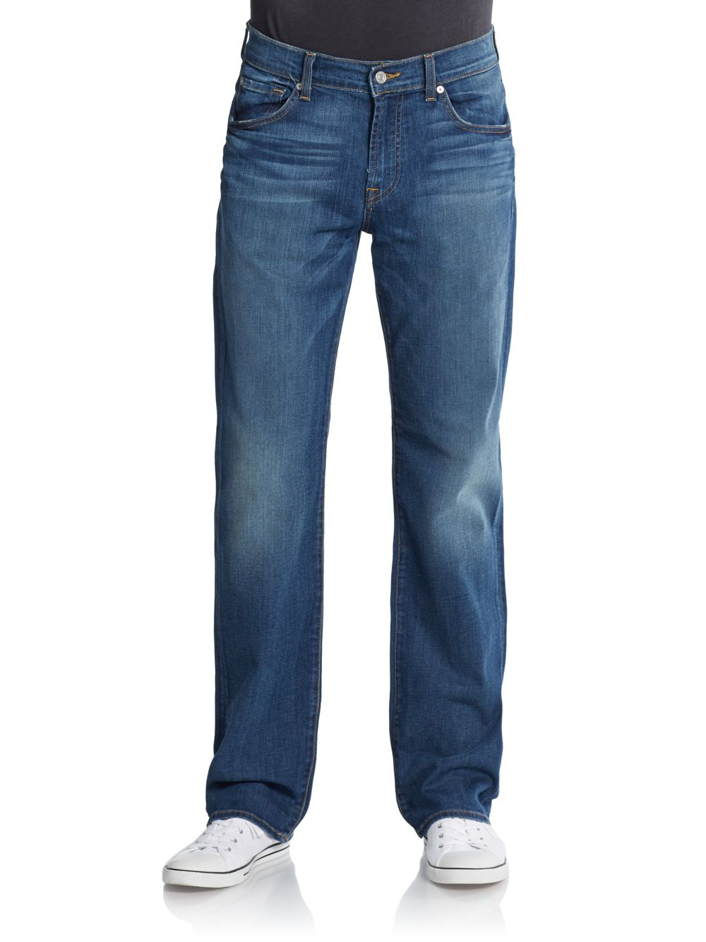 7 for all mankind standard whiskered straight leg jeans in blue for men dark wash lyst. Black Bedroom Furniture Sets. Home Design Ideas