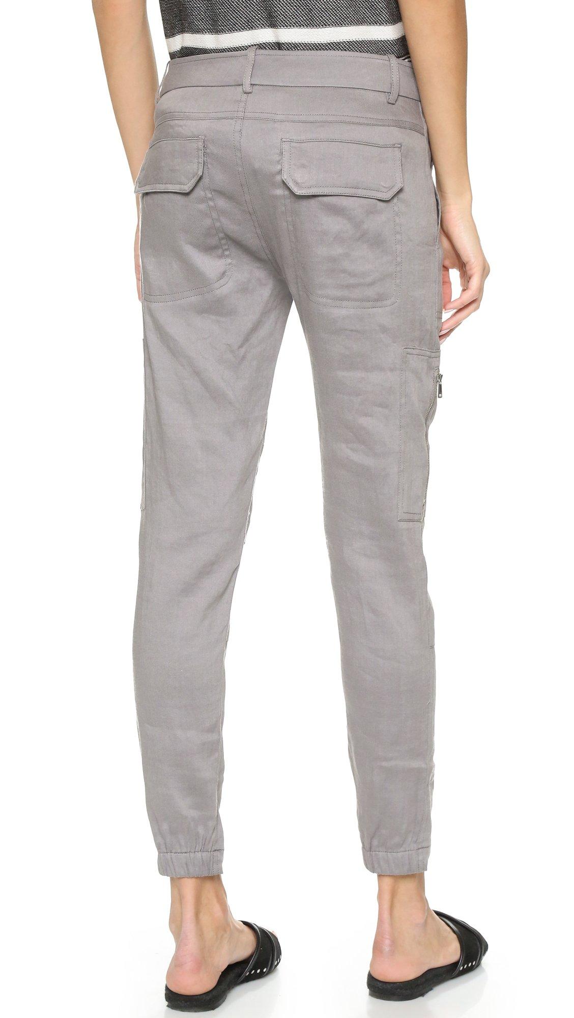 Vince Linen Cargo Pants In Gray Lyst