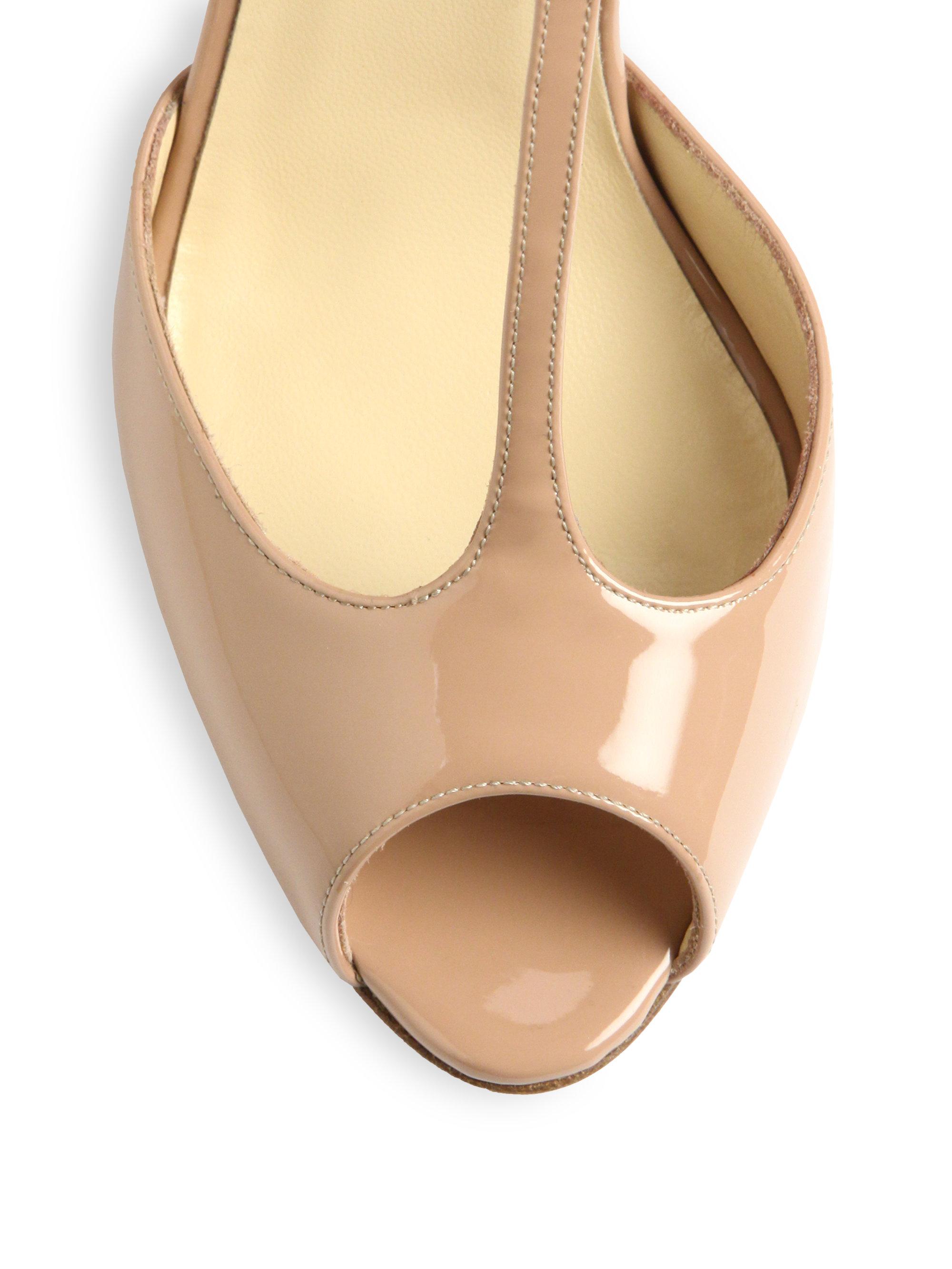 christian louboutin peep-toe espadrille wedges Tan patent leather ...