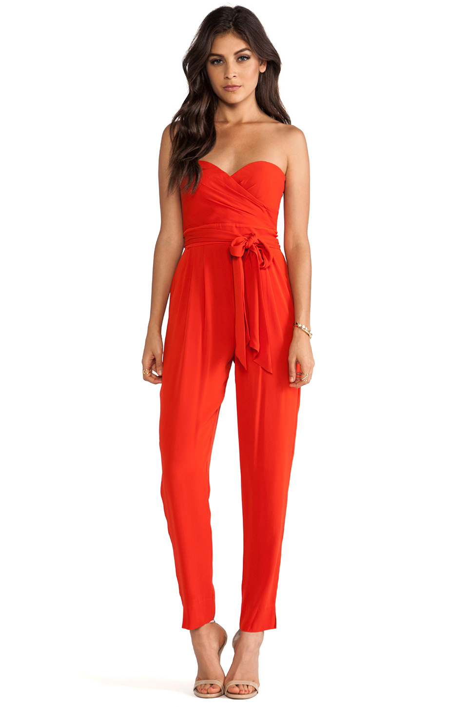 Catherine malandrino Strapless Jumpsuit in Red | Lyst