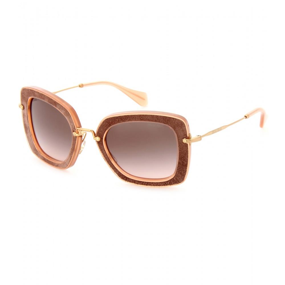 Miu Miu Pink Suede Sunglasses