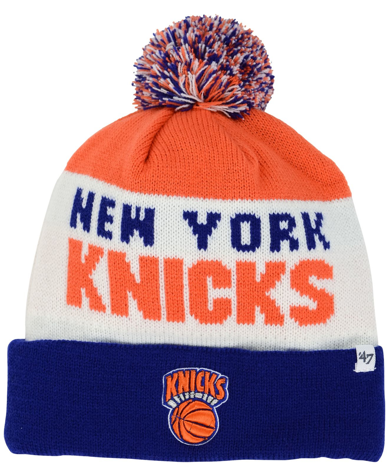 huge discount 04791 17980 ... uk lyst 47 brand new york knicks crossblock knit hat in blue outlet  online a85e9 aebba
