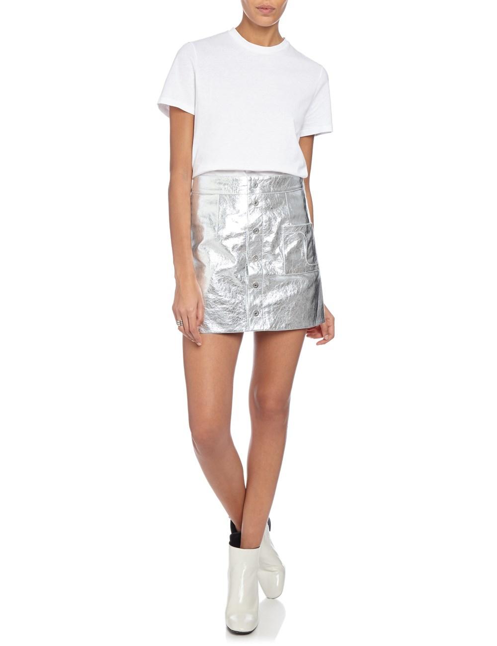 Coperni femme Silver Leather A-line Mini Skirt in Metallic | Lyst