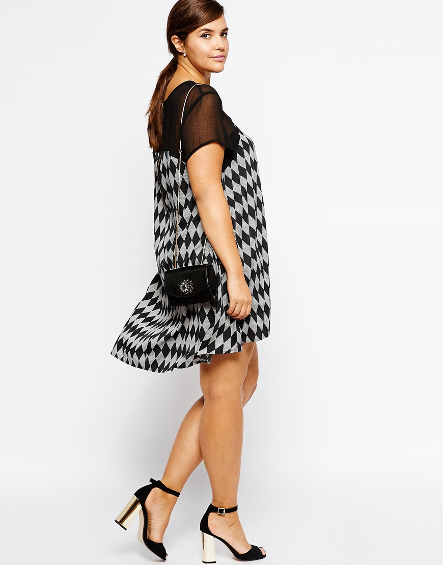 AX Paris Plus Size Swing Dress with Sheer Sleeves in Gray - Lyst